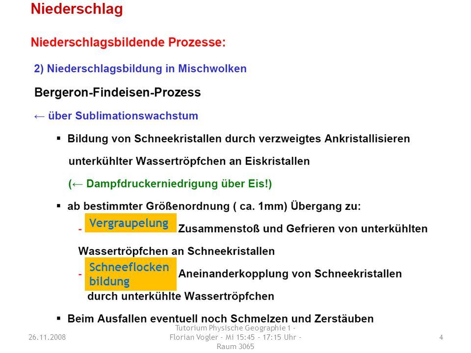 Erläutere den Prozess der Niederschlags- bildung durch Sublimationswachstum (Bergeron-Findeisen-Prozess). 26.11.2008 Tutorium Physische Geographie 1 -