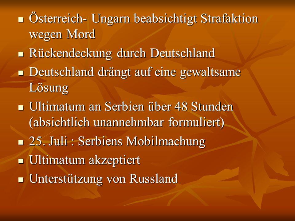 Österreich- Ungarn beabsichtigt Strafaktion wegen Mord Österreich- Ungarn beabsichtigt Strafaktion wegen Mord Rückendeckung durch Deutschland Rückende