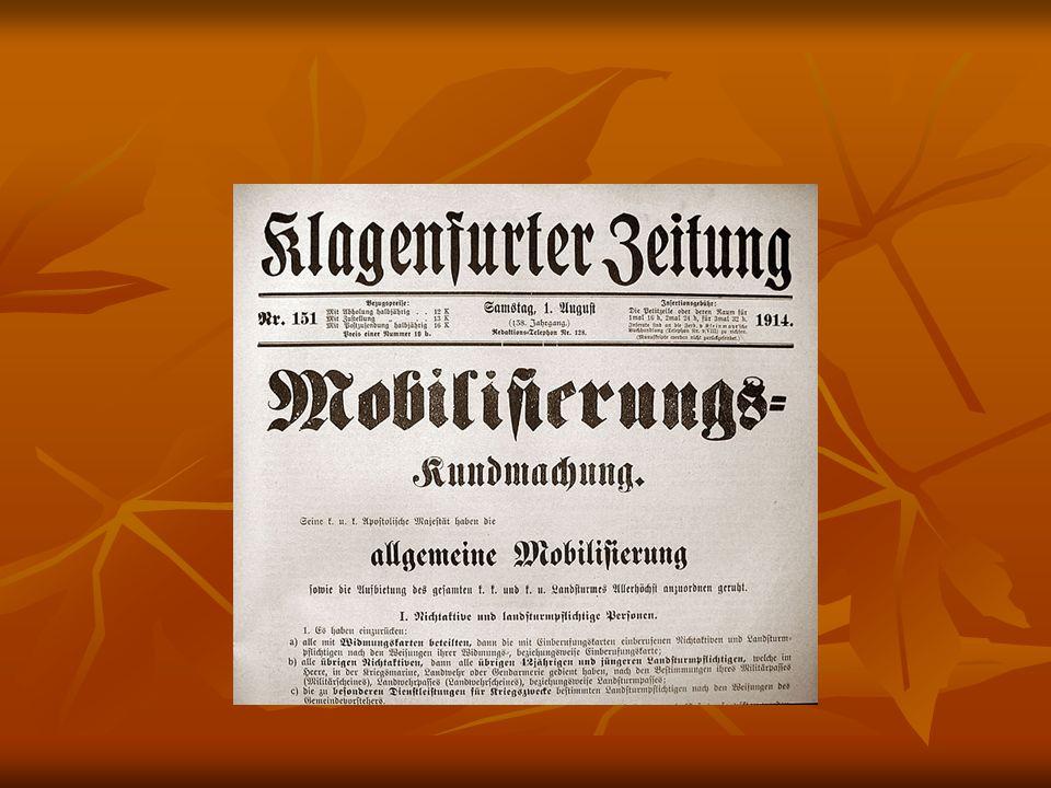 28.Juli : Kriegserklärung Österreich- Ungarns an Serbien 28.Juli : Kriegserklärung Österreich- Ungarns an Serbien Teilmobilmachung Russlands Teilmobilmachung Russlands =>3.
