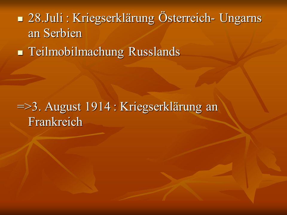 28.Juli : Kriegserklärung Österreich- Ungarns an Serbien 28.Juli : Kriegserklärung Österreich- Ungarns an Serbien Teilmobilmachung Russlands Teilmobil