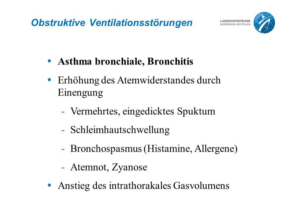 Obstruktive Ventilationsstörungen  Asthma bronchiale, Bronchitis  Erhöhung des Atemwiderstandes durch Einengung -Vermehrtes, eingedicktes Spuktum -S