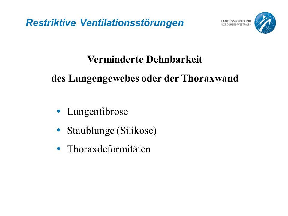 Restriktive Ventilationsstörungen  Lungenfibrose  Staublunge (Silikose)  Thoraxdeformitäten Verminderte Dehnbarkeit des Lungengewebes oder der Thor