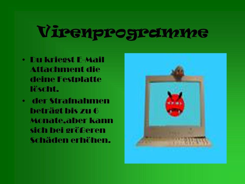Virenprogramme Du kriegst E-Mail Attachment die deine Festplatte löscht.
