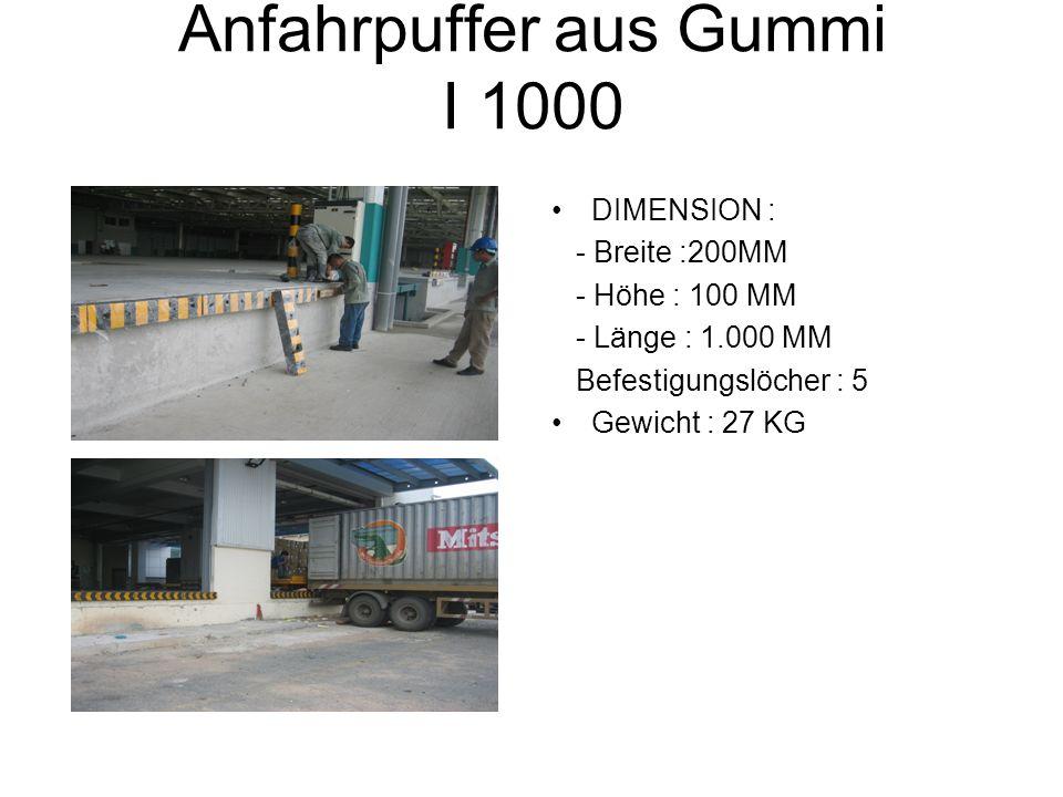 Anfahrpuffer aus Gummi I 1000 DIMENSION : - Breite :200MM - Höhe : 100 MM - Länge : 1.000 MM Befestigungslöcher : 5 Gewicht : 27 KG