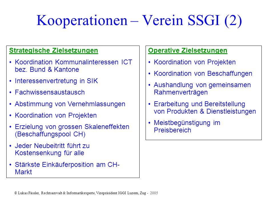 Kooperationen – Verein SSGI (2) Strategische Zielsetzungen Koordination Kommunalinteressen ICT bez.