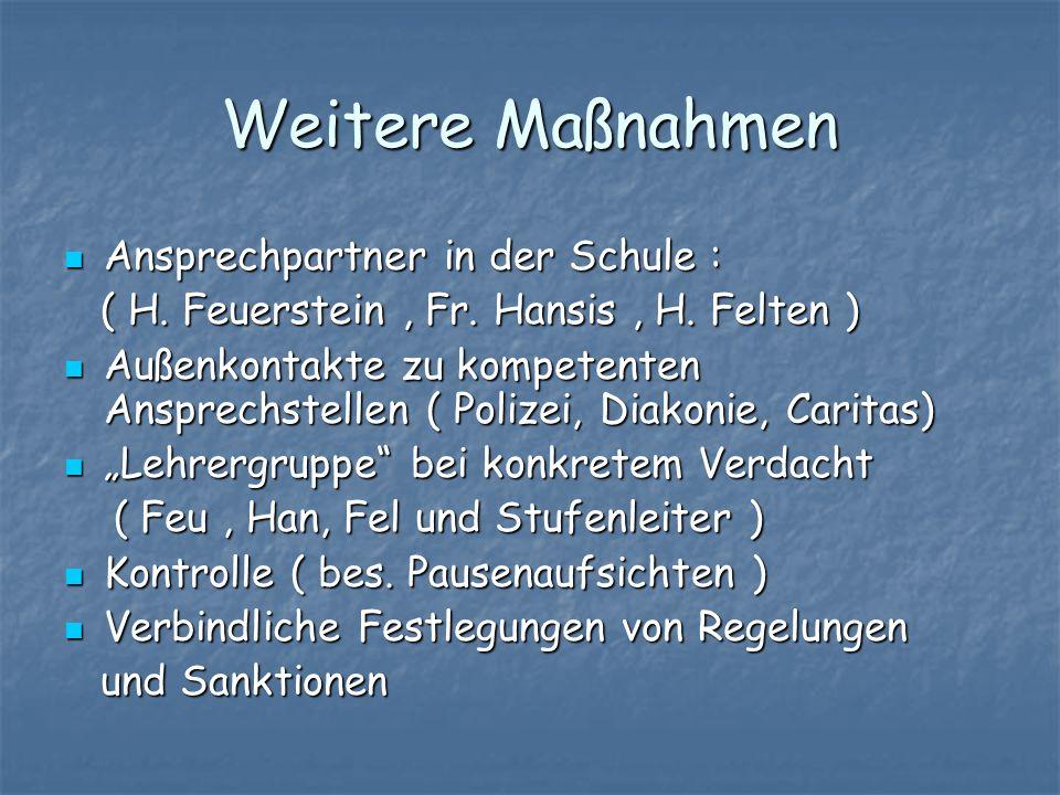 Weitere Maßnahmen Ansprechpartner in der Schule : Ansprechpartner in der Schule : ( H. Feuerstein, Fr. Hansis, H. Felten ) ( H. Feuerstein, Fr. Hansis