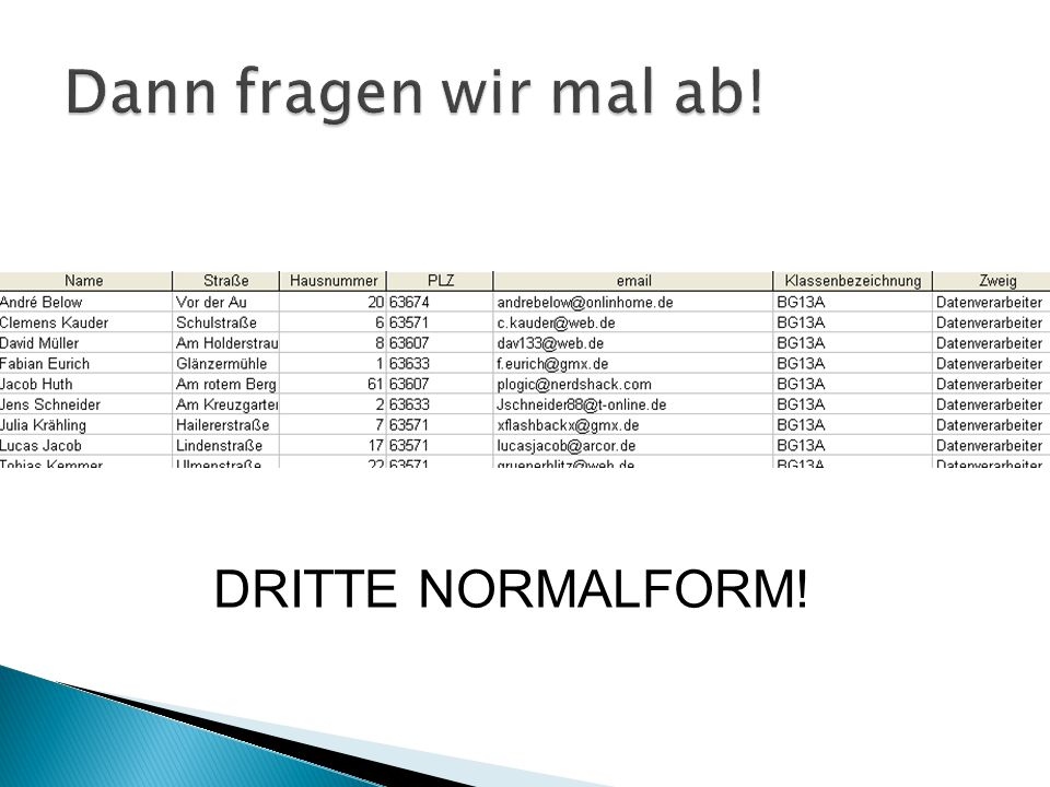 SELECT * FROM Tabelle1 LEFT JOIN Tabelle2 ON Tabelle1.feld1 = Tabelle2.feld2 Tabelle1 Tabelle2 Datensatz 1 Datensatz 3 Datensatz 4 Datensatz 1 Datensatz 2 Datensatz 3 Ausgabe Datensatz 1 Datensatz 3 Datensatz 4 Datensatz 3