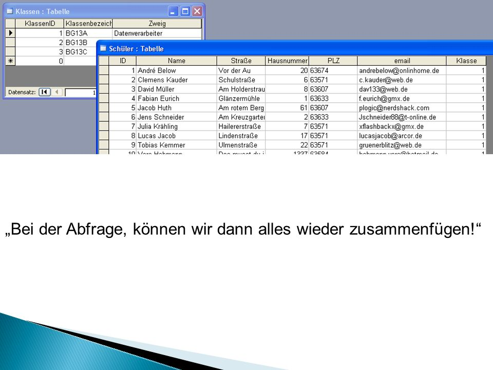 SELECT * FROM Tabelle1 RIGHT JOIN Tabelle2 ON Tabelle1.feld1 = Tabelle2.feld2 Tabelle1 Tabelle2 Datensatz 1 Datensatz 3 Datensatz 4 Datensatz 1 Datensatz 2 Datensatz 3 Ausgabe Datensatz 1 Datensatz 3 Datensatz 1 Datensatz 2 Datensatz 3
