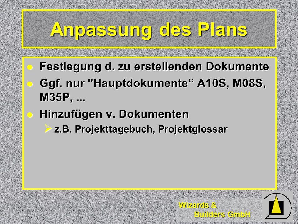 Wizards & Builders GmbH Anpassung des Plans Festlegung d.