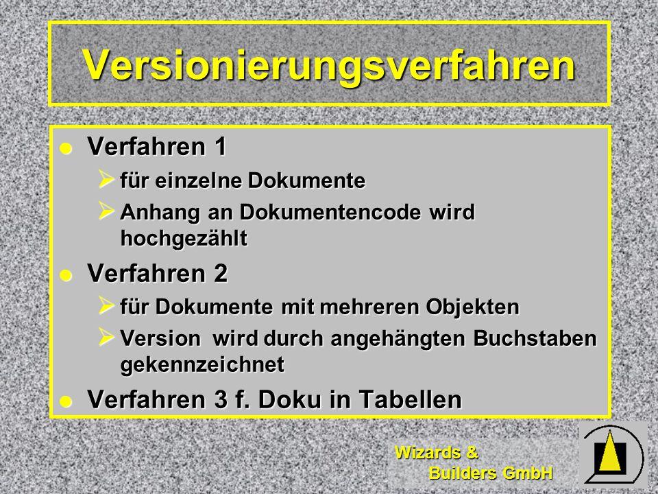 Wizards & Builders GmbH Versionierungsverfahren Verfahren 1 Verfahren 1  für einzelne Dokumente  Anhang an Dokumentencode wird hochgezählt Verfahren 2 Verfahren 2  für Dokumente mit mehreren Objekten  Version wird durch angehängten Buchstaben gekennzeichnet Verfahren 3 f.