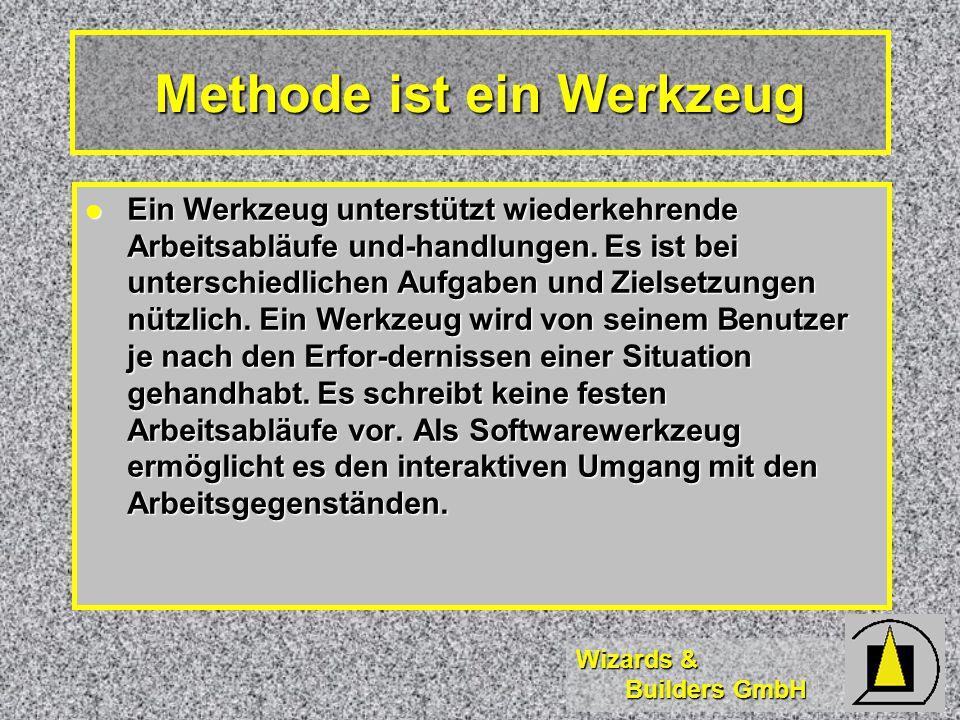 Wizards & Builders GmbH Methode ist ein Werkzeug Ein Werkzeug unterstützt wiederkehrende Arbeitsabläufe und-handlungen.