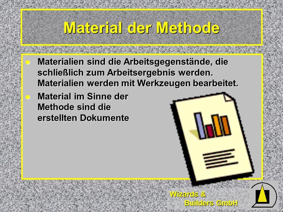 Wizards & Builders GmbH Material der Methode Materialien sind die Arbeitsgegenstände, die schließlich zum Arbeitsergebnis werden.