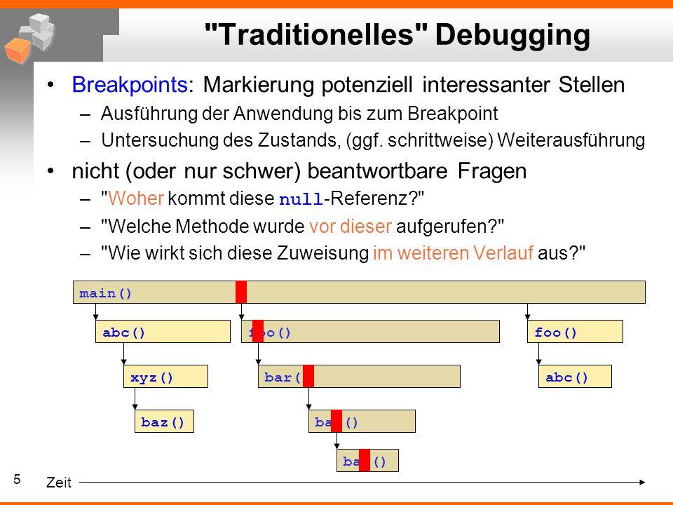 5 Traditionelles Debugging Breakpoints: Markierung potenziell interessanter Stellen –Ausführung der Anwendung bis zum Breakpoint –Untersuchung des Zustands, (ggf.