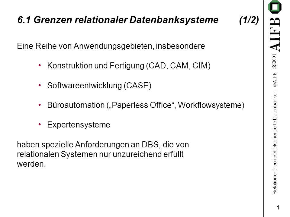 """RelationentheorieObjektorientierte Datenbanken  AIFB SS2001 1 6.1 Grenzen relationaler Datenbanksysteme (1/2) Eine Reihe von Anwendungsgebieten, insbesondere Konstruktion und Fertigung (CAD, CAM, CIM) Softwareentwicklung (CASE) Büroautomation (""""Paperless Office , Workflowsysteme) Expertensysteme haben spezielle Anforderungen an DBS, die von relationalen Systemen nur unzureichend erfüllt werden."""