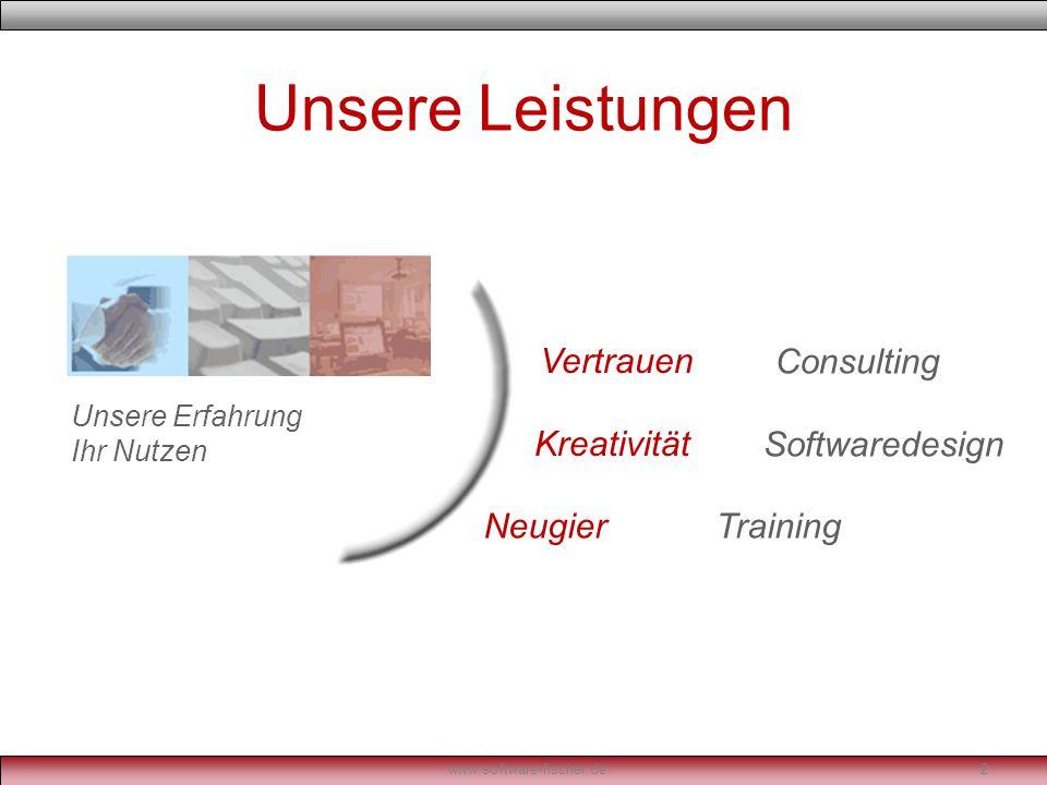 Consulting Effiziente und kompetente Unterstützung von Außen, zur Lösung Ihrer Probleme im IT-Bereich www.software-fischer.de3 - mehr als nur Beratung