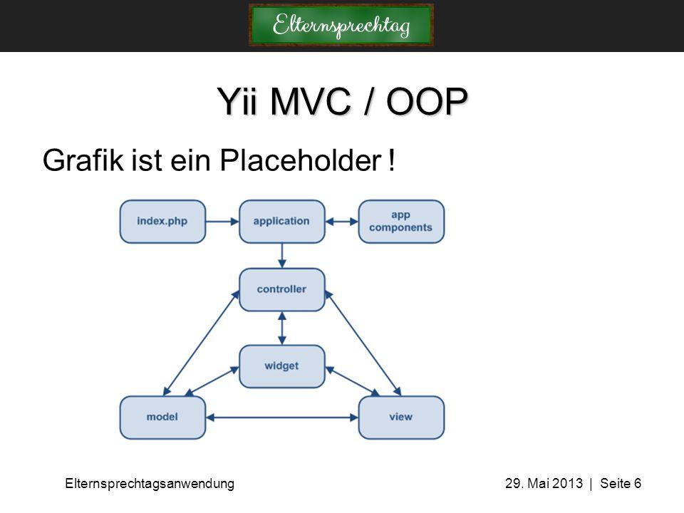 Elternsprechtagsanwendung 29. Mai 2013 | Seite 6 Yii MVC / OOP Grafik ist ein Placeholder !