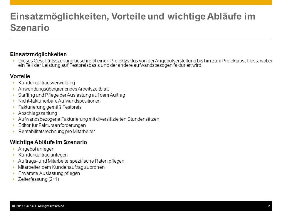 ©2011 SAP AG. All rights reserved.2 Einsatzmöglichkeiten, Vorteile und wichtige Abläufe im Szenario Einsatzmöglichkeiten  Dieses Geschäftsszenario be