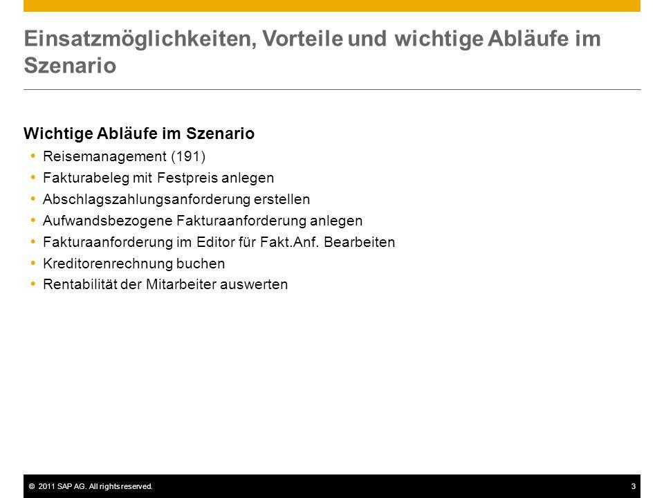 ©2011 SAP AG. All rights reserved.3 Einsatzmöglichkeiten, Vorteile und wichtige Abläufe im Szenario Wichtige Abläufe im Szenario  Reisemanagement (19