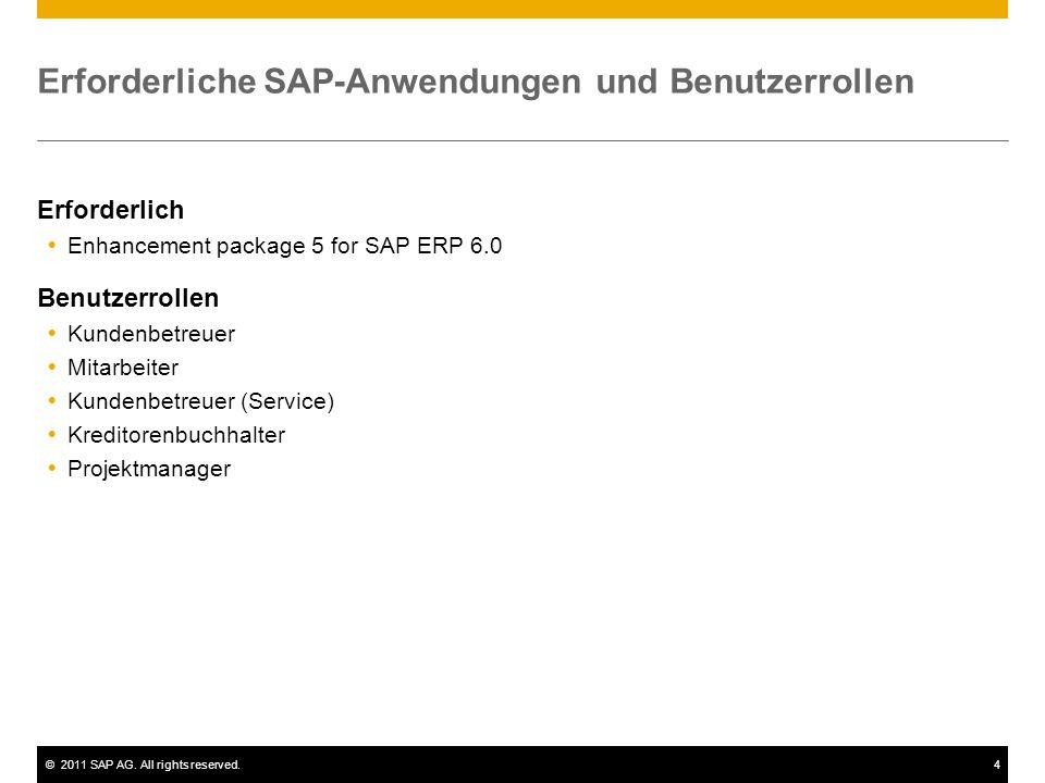 ©2011 SAP AG. All rights reserved.4 Erforderliche SAP-Anwendungen und Benutzerrollen Erforderlich  Enhancement package 5 for SAP ERP 6.0 Benutzerroll