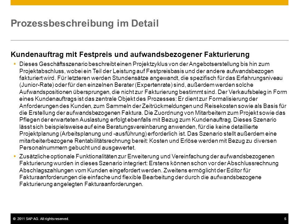 ©2011 SAP AG. All rights reserved.5 Prozessbeschreibung im Detail Kundenauftrag mit Festpreis und aufwandsbezogener Fakturierung  Dieses Geschäftssze