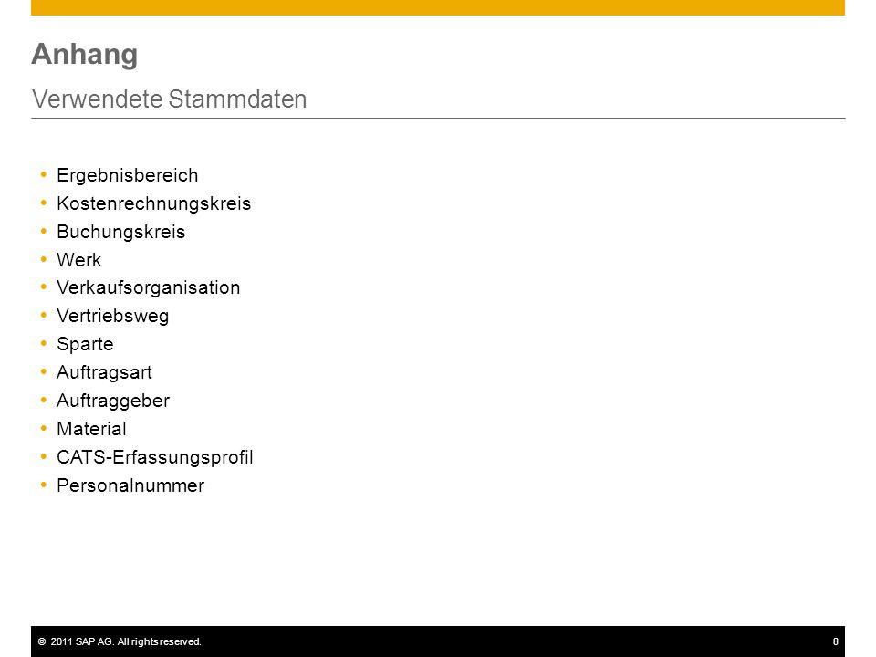 ©2011 SAP AG. All rights reserved.8 Anhang Verwendete Stammdaten  Ergebnisbereich  Kostenrechnungskreis  Buchungskreis  Werk  Verkaufsorganisatio
