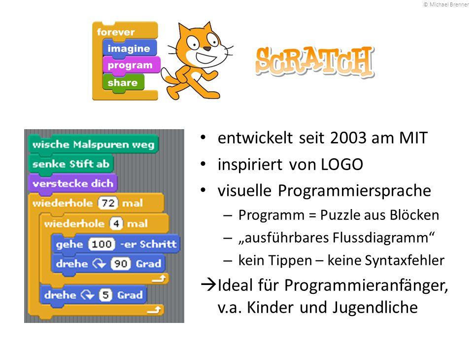 """entwickelt seit 2003 am MIT inspiriert von LOGO visuelle Programmiersprache – Programm = Puzzle aus Blöcken – """"ausführbares Flussdiagramm"""" – kein Tipp"""