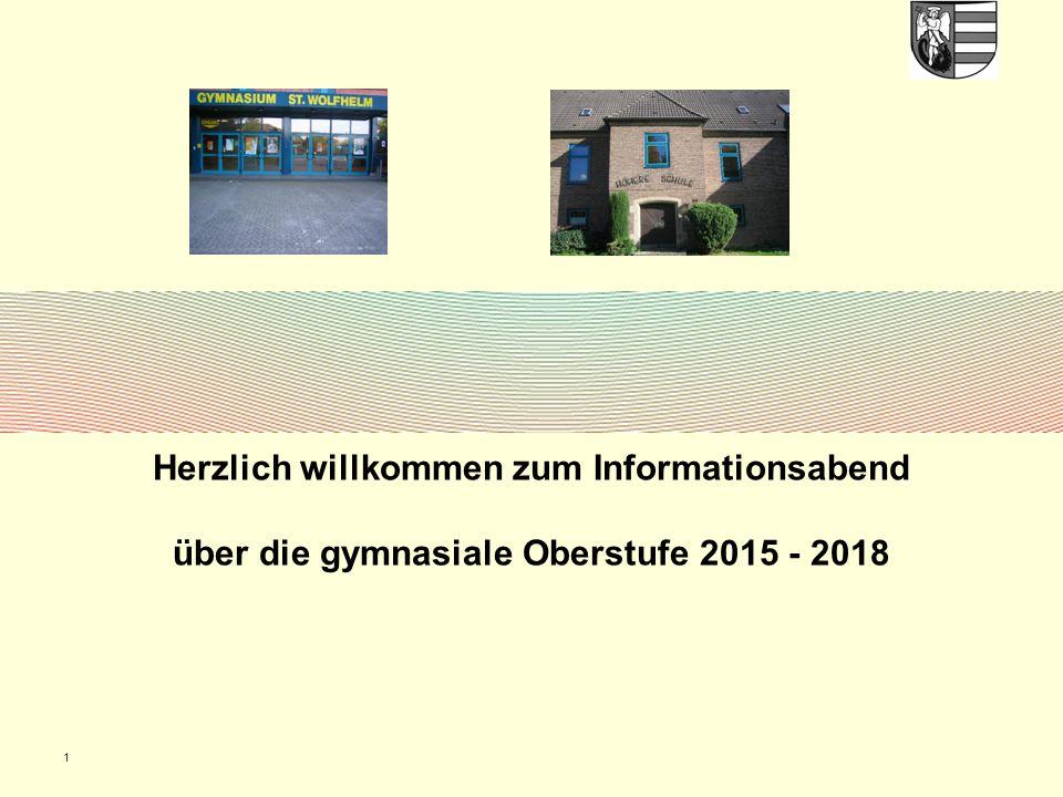 1 Herzlich willkommen zum Informationsabend über die gymnasiale Oberstufe 2015 - 2018