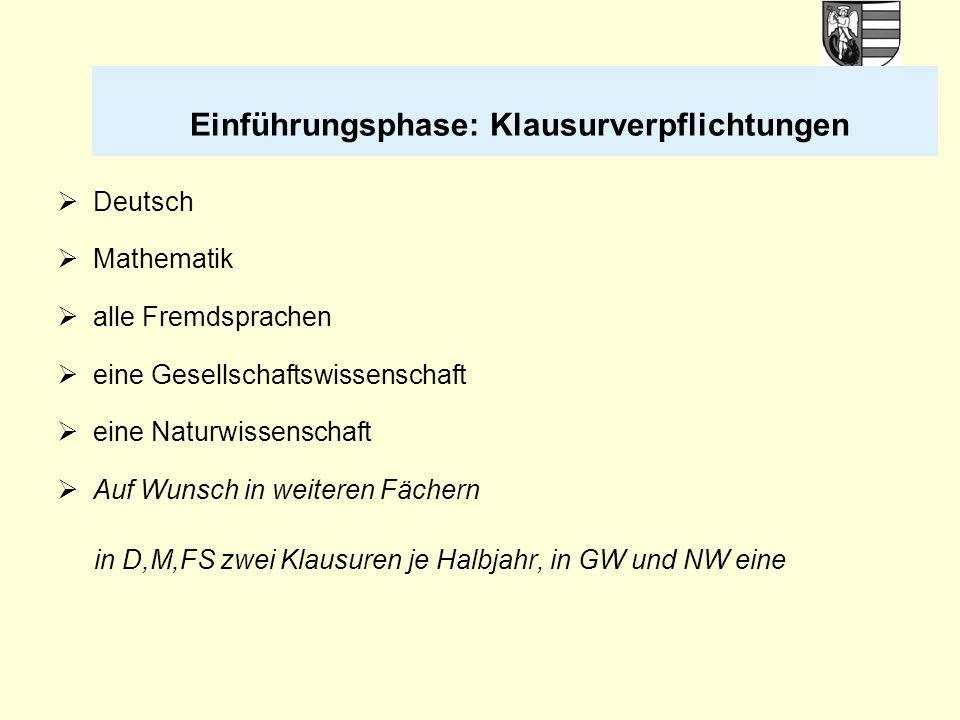 Einführungsphase: Klausurverpflichtungen  Deutsch  Mathematik  alle Fremdsprachen  eine Gesellschaftswissenschaft  eine Naturwissenschaft  Auf W