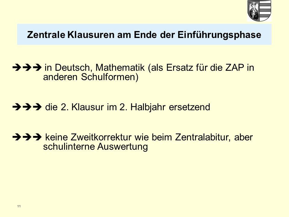 11  in Deutsch, Mathematik (als Ersatz für die ZAP in anderen Schulformen)  die 2. Klausur im 2. Halbjahr ersetzend  keine Zweitkorrektur wie