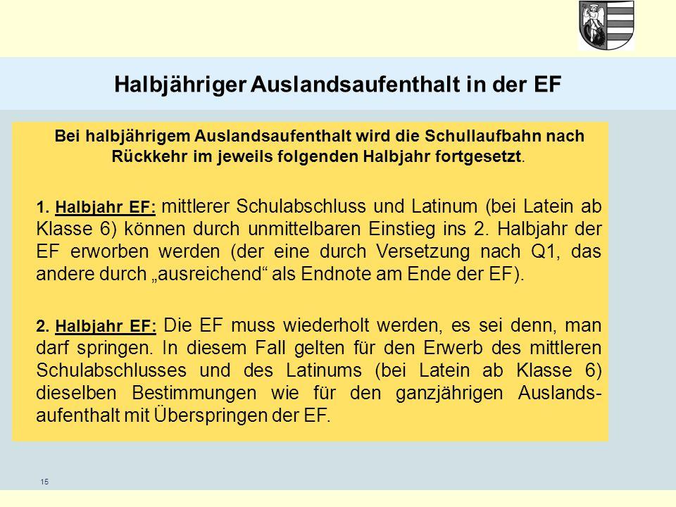15 Halbjähriger Auslandsaufenthalt in der EF Bei halbjährigem Auslandsaufenthalt wird die Schullaufbahn nach Rückkehr im jeweils folgenden Halbjahr fo