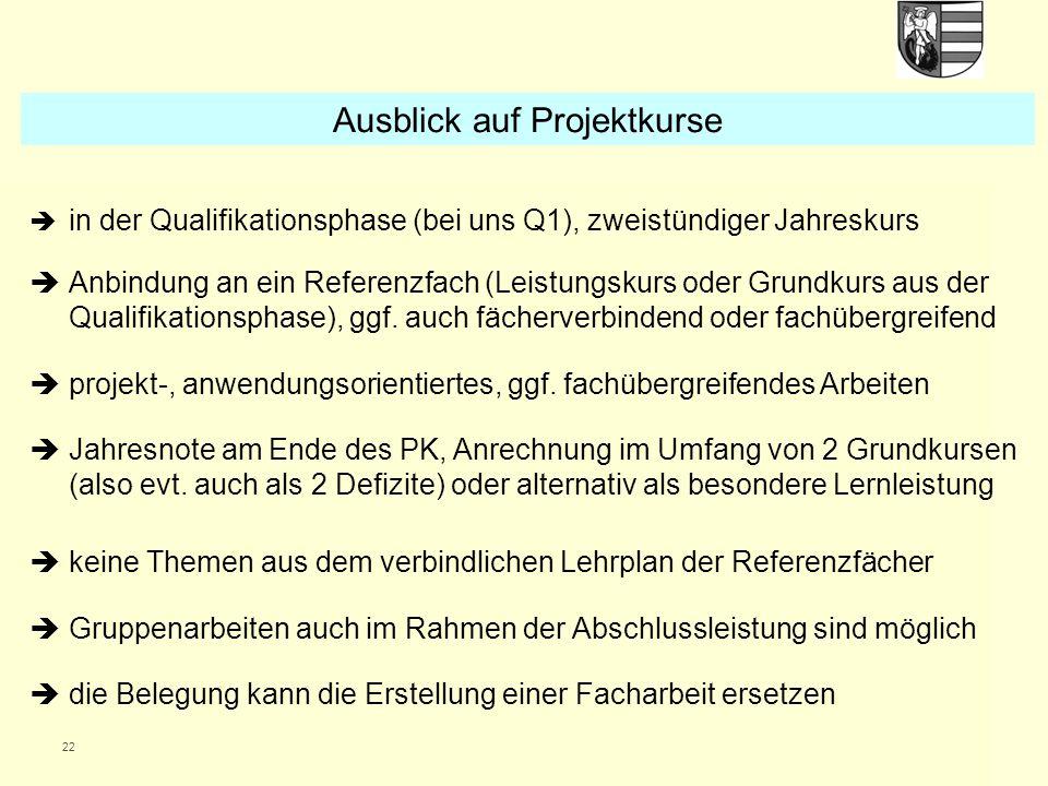 22  in der Qualifikationsphase (bei uns Q1), zweistündiger Jahreskurs  Anbindung an ein Referenzfach (Leistungskurs oder Grundkurs aus der Qualifika