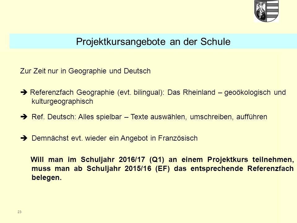 23 Zur Zeit nur in Geographie und Deutsch  Referenzfach Geographie (evt. bilingual): Das Rheinland – geoökologisch und kulturgeographisch  Ref. Deut