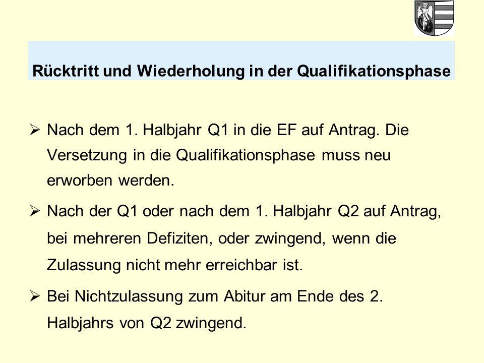  Nach dem 1. Halbjahr Q1 in die EF auf Antrag. Die Versetzung in die Qualifikationsphase muss neu erworben werden.  Nach der Q1 oder nach dem 1. Hal
