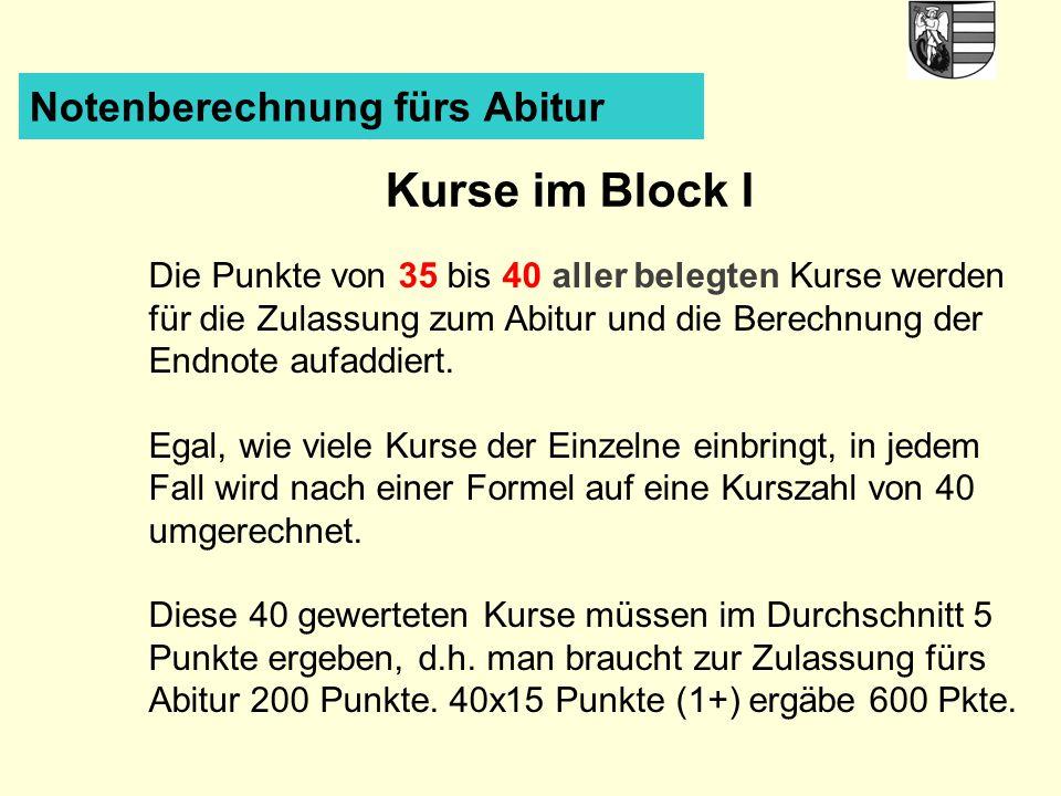 Notenberechnung fürs Abitur Kurse im Block I Die Punkte von 35 bis 40 aller belegten Kurse werden für die Zulassung zum Abitur und die Berechnung der