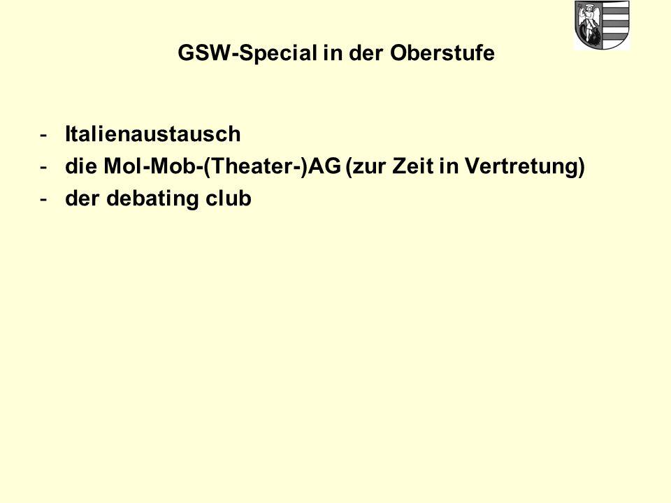 GSW-Special in der Oberstufe -Italienaustausch -die Mol-Mob-(Theater-)AG (zur Zeit in Vertretung) -der debating club