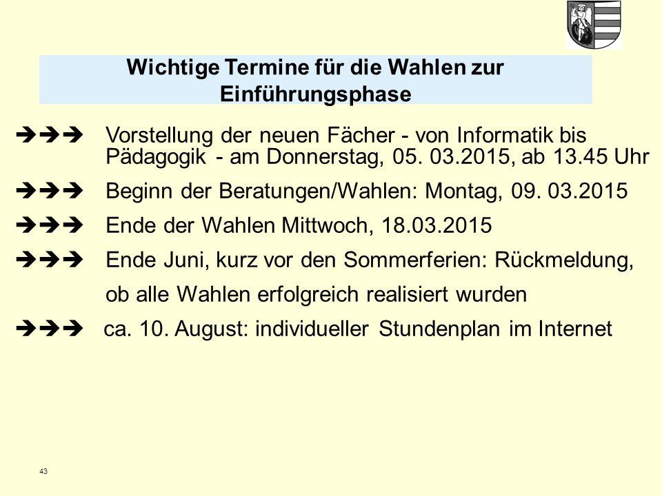 43  Vorstellung der neuen Fächer - von Informatik bis Pädagogik - am Donnerstag, 05. 03.2015, ab 13.45 Uhr  Beginn der Beratungen/Wahlen: Montag