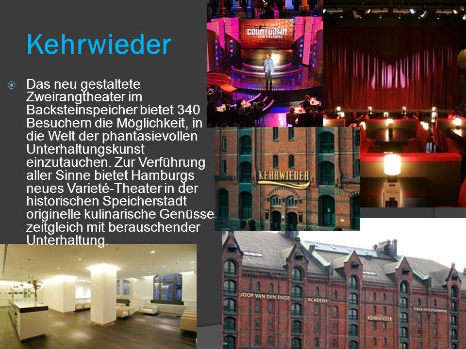 Kehrwieder  Das neu gestaltete Zweirangtheater im Backsteinspeicher bietet 340 Besuchern die Möglichkeit, in die Welt der phantasievollen Unterhaltungskunst einzutauchen.