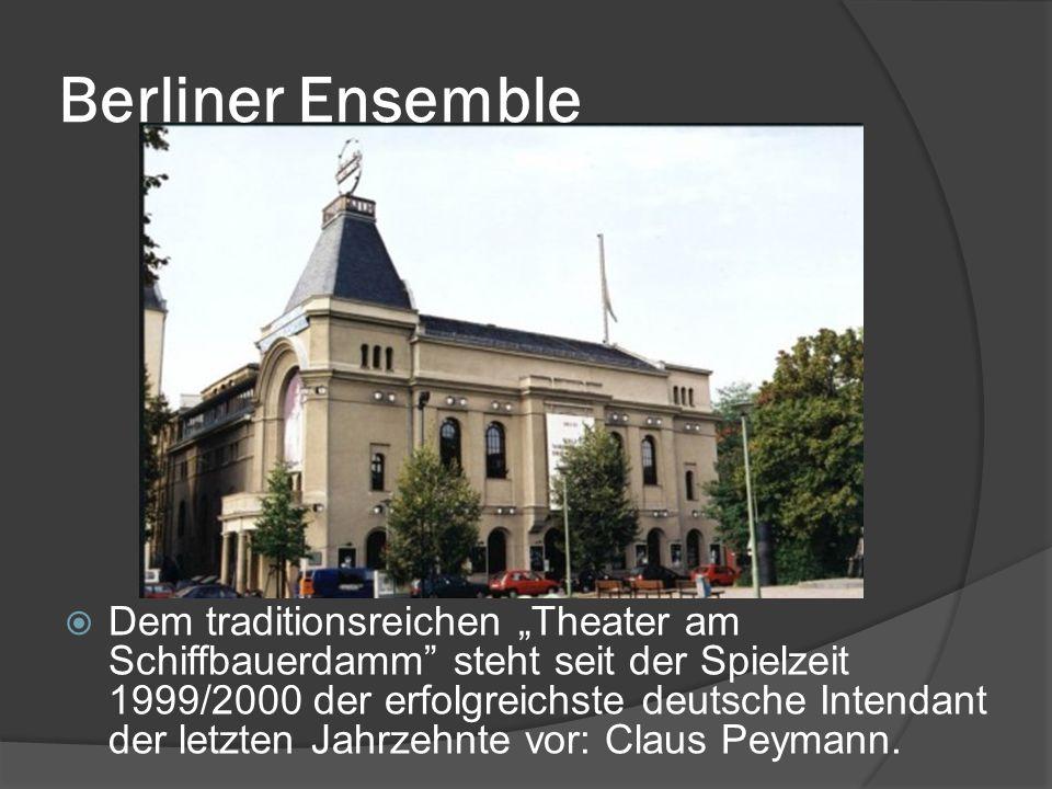 """Berliner Ensemble  Dem traditionsreichen """"Theater am Schiffbauerdamm steht seit der Spielzeit 1999/2000 der erfolgreichste deutsche Intendant der letzten Jahrzehnte vor: Claus Peymann."""
