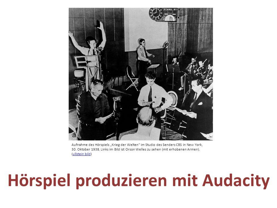 """Hörspiel produzieren mit Audacity Aufnahme des Hörspiels """"Krieg der Welten"""" im Studio des Senders CBS in New York, 30. Oktober 1938. Links im Bild ist"""