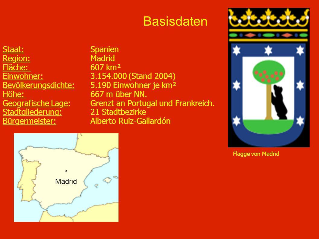 Staat: Spanien Region: Madrid Fläche: 607 km² Einwohner: 3.154.000 (Stand 2004) Bevölkerungsdichte: 5.190 Einwohner je km² Höhe: 667 m über NN. Geogra