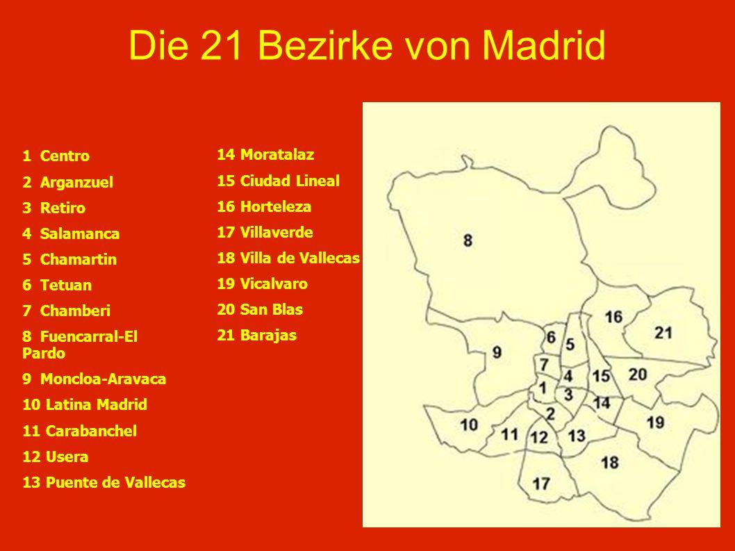 Die 21 Bezirke von Madrid 1 Centro 2 Arganzuel 3 Retiro 4 Salamanca 5 Chamartin 6 Tetuan 7 Chamberi 8 Fuencarral-El Pardo 9 Moncloa-Aravaca 10 Latina