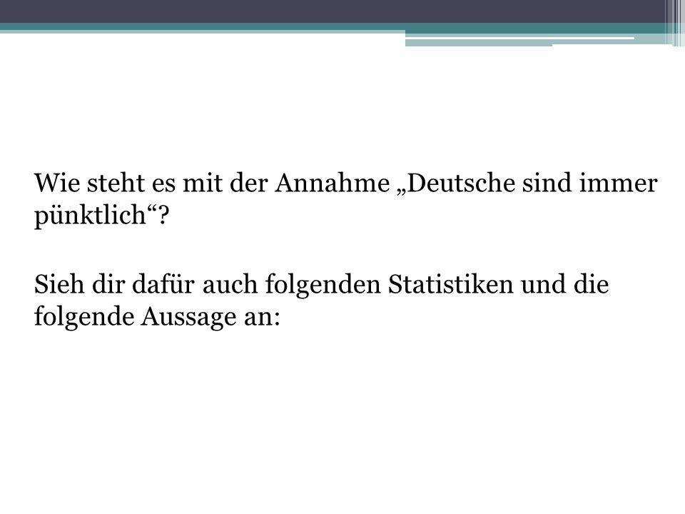 """Wie steht es mit der Annahme """"Deutsche sind immer pünktlich""""? Sieh dir dafür auch folgenden Statistiken und die folgende Aussage an:"""