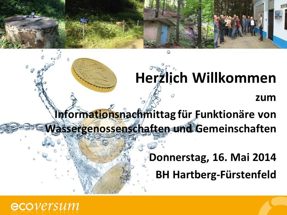 Herzlich Willkommen zum Informationsnachmittag für Funktionäre von Wassergenossenschaften und Gemeinschaften Donnerstag, 16.