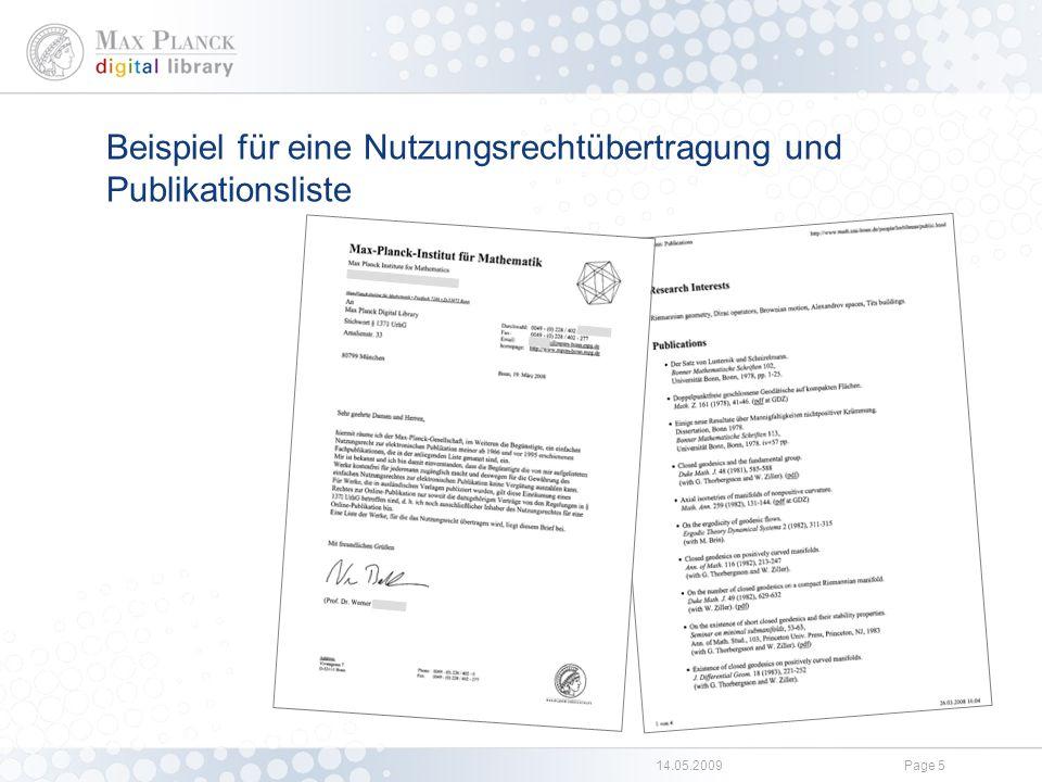 14.05.2009Page 5 Beispiel für eine Nutzungsrechtübertragung und Publikationsliste