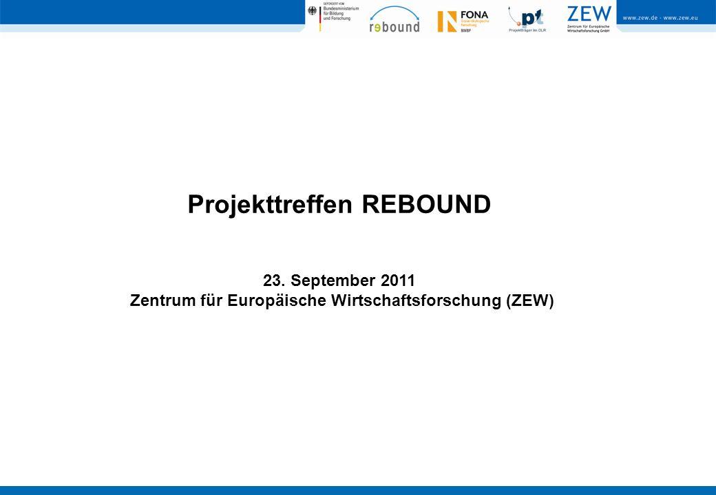 Projekttreffen REBOUND 23. September 2011 Zentrum für Europäische Wirtschaftsforschung (ZEW)