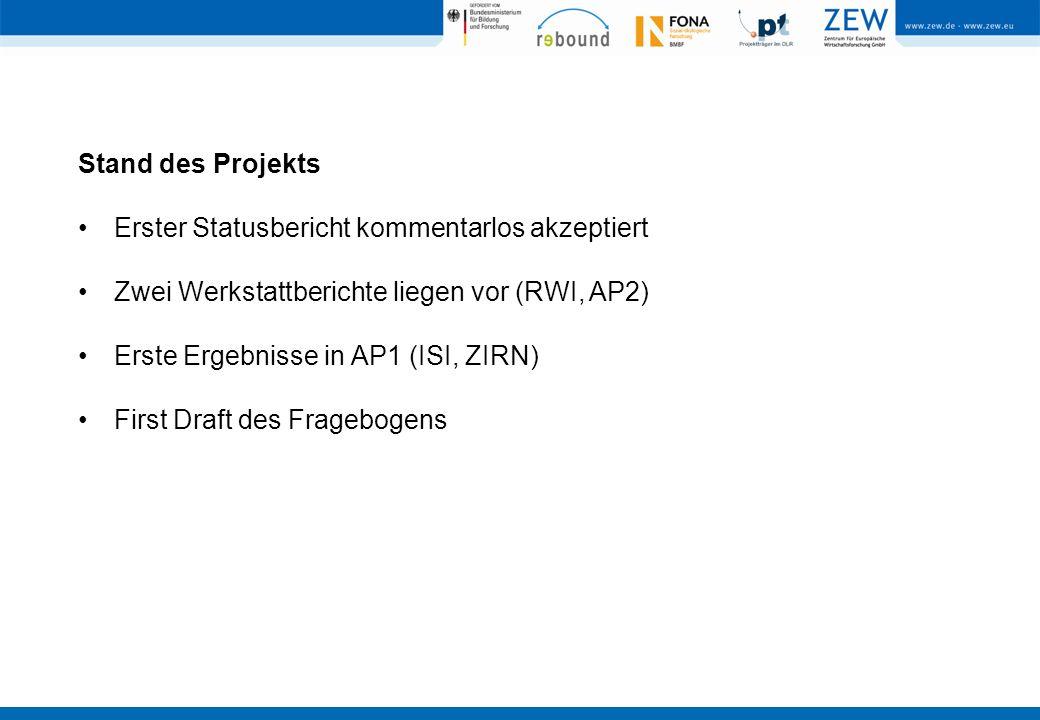 Stand des Projekts Erster Statusbericht kommentarlos akzeptiert Zwei Werkstattberichte liegen vor (RWI, AP2) Erste Ergebnisse in AP1 (ISI, ZIRN) First Draft des Fragebogens