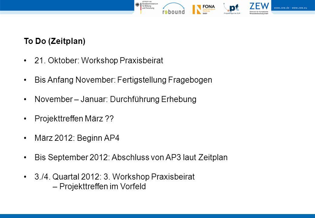 To Do (Zeitplan) 21. Oktober: Workshop Praxisbeirat Bis Anfang November: Fertigstellung Fragebogen November – Januar: Durchführung Erhebung Projekttre