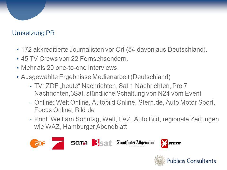 Umsetzung PR 172 akkreditierte Journalisten vor Ort (54 davon aus Deutschland).