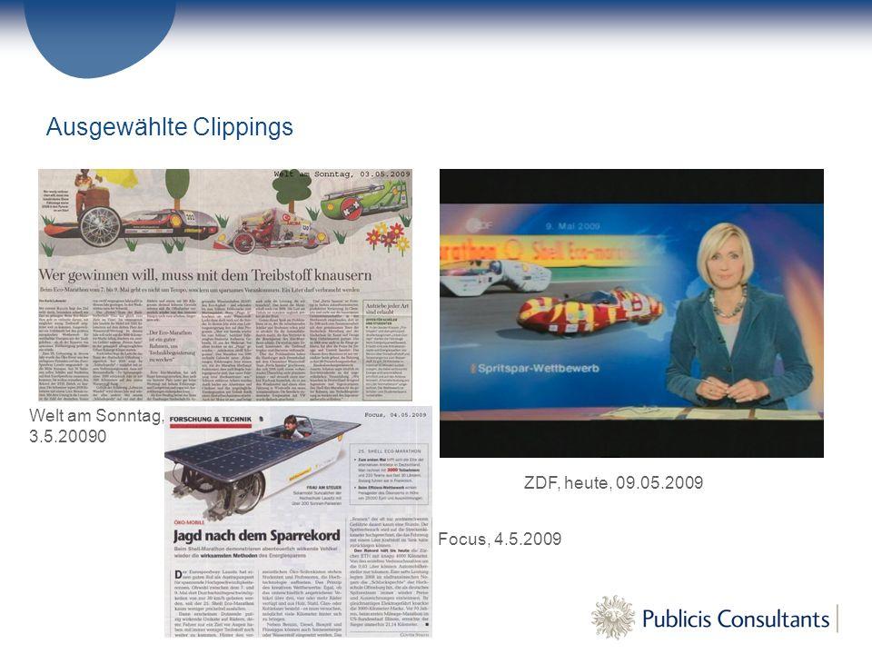 Welt am Sonntag, 3.5.20090 Focus, 4.5.2009 Ausgewählte Clippings ZDF, heute, 09.05.2009