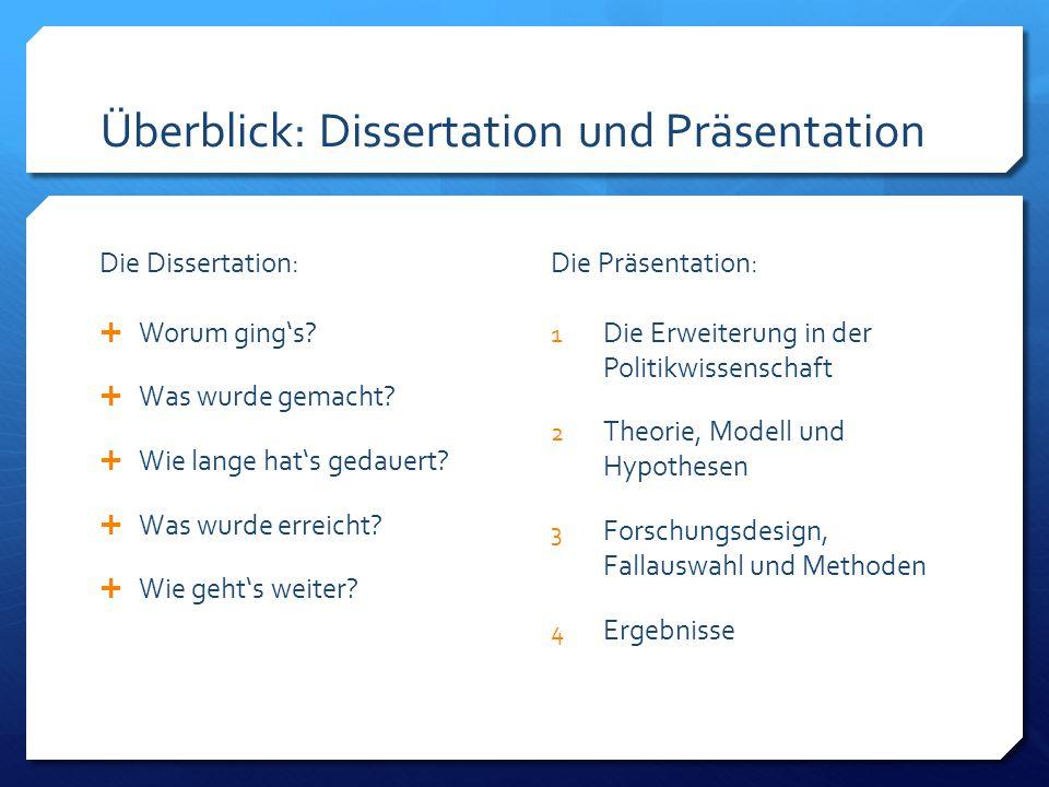 Überblick: Dissertation und Präsentation Die Dissertation:  Worum ging's.